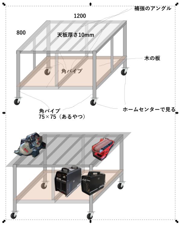 作業台の製作図